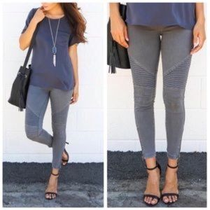 Pants - Cute and comfortable GREY motor zippered leggings